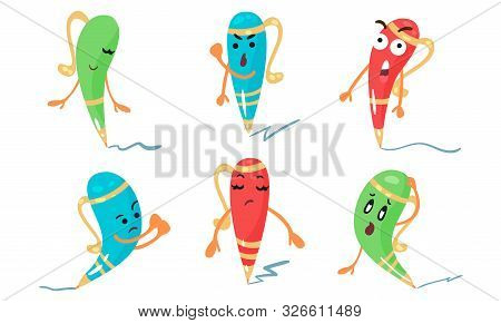 Set Of Vector Illustrations In Cartoon Style Of Colorful Animated Pens stock photo