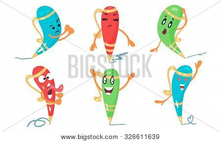 Set Of Cartoon Character Vector Illustrations Of Colorful Animated Pens stock photo