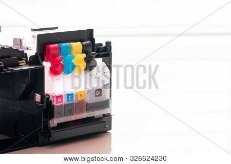 Ink Cartridges In Refilled Ink Jet Printer.