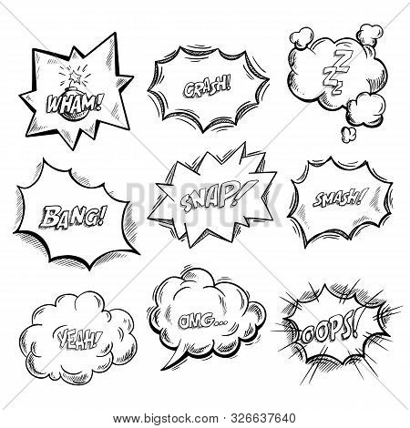 Exclamation clouds sketch and onomatopoeia comic signs, stars for cartoon emotions, bubble with expressions, dialog pop. Wham and crash, zzz and bang, snap and smash, yeah and omg, oops icons stock photo