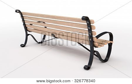 An empty slatted wood and iron public park bench on an isolated white studio background - 3D render stock photo