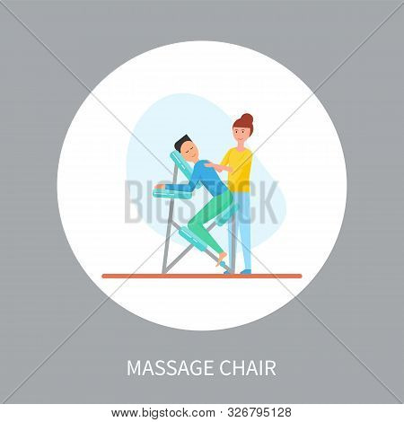 Massage chair in cartoon style isolated vector in circle. Masseuse in uniform massaging client sitting in special armchair relaxed, therapist and client stock photo