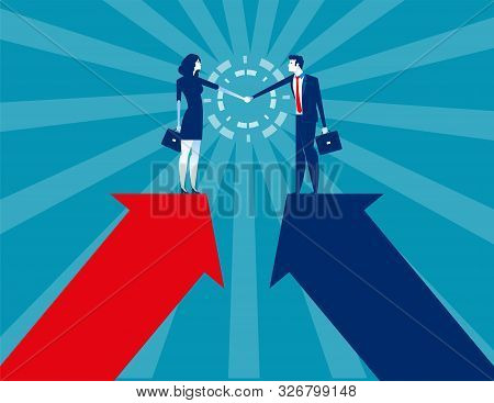Business and partner handshake. Concept business agreement vector illustration. Flat business cartoon, Character style design. stock photo
