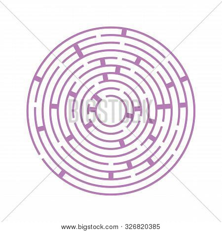 Abstract round maze. An educational game for children and adults. Simple flat vector illustration isolated on white background stock photo