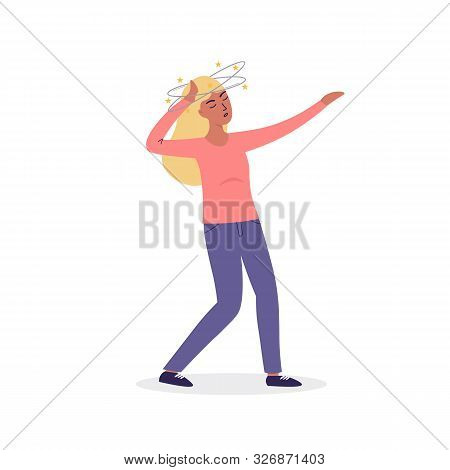 Flat cartoon vector woman character fainting, dizziness. Isolated illustration on white background. stock photo