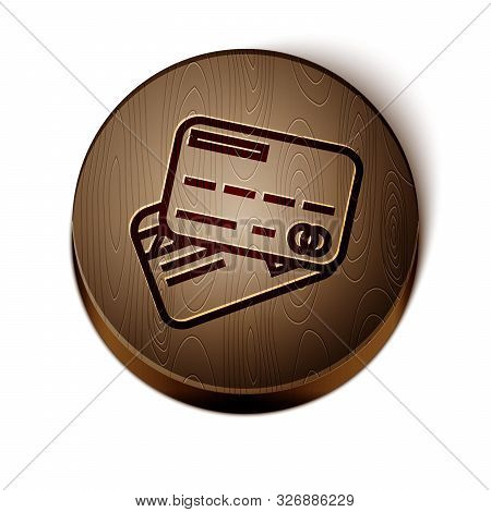 Brown line Credit card icon isolated on white background. Online payment. Cash withdrawal. Financial operations. Shopping sign. Wooden circle button. Vector Illustration stock photo