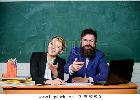 College enrollee. Entrance examination. Apply to enter high school. Selection committee concept. Interviewing enrollee. Teacher principal decide who will enter private school. Private elite school stock photo