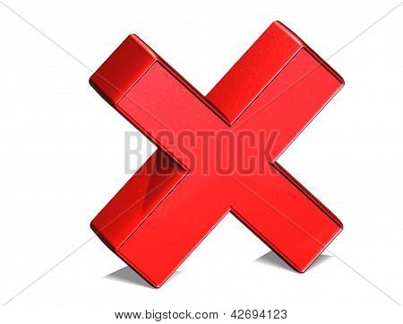 3D Letter X Red Sign on white background stock photo