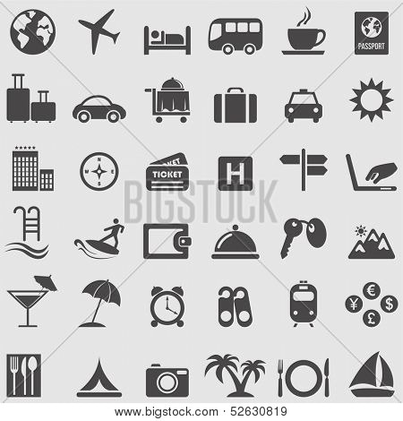 Travel  and Tourism icons set. Vector