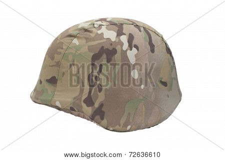 kevlar helmet with multicam pattern camouflaged cover isolated on white stock photo