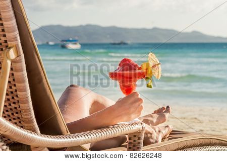 young beautiful woman enjoying summer vacation, beach relax, summer in tropics