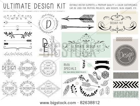 ULTIMATE DESIGN ELEMENTS KIT. For your graphic projects, print and internet. Frames, dividers, decor
