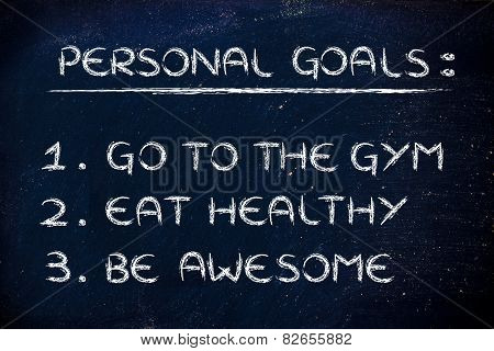 fitness lifestyle: list of new year's resolutions about eating healthy and keeping fit stock photo
