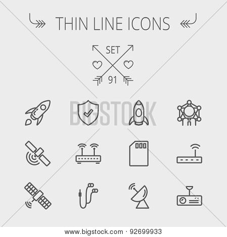Technology thin line icon set for web and mobile. Set includes - start up, satellite, shield, router