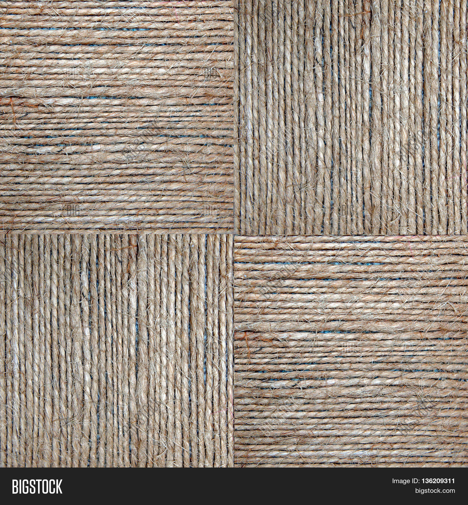 Squares Hemp Rope Texture In A Image Stock Photo 136209311