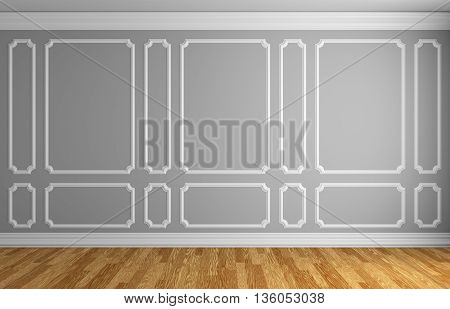 Gray Wall In Classic Style Room