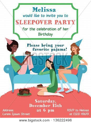 Vector Teenage Girls Birthday Party Ilvitation Card With Three Pretty Friends Celebrating Eating Cake On Couch. Perfect for a fun sleepover or pajama event. Featuring young women, party hats, desert and stars.