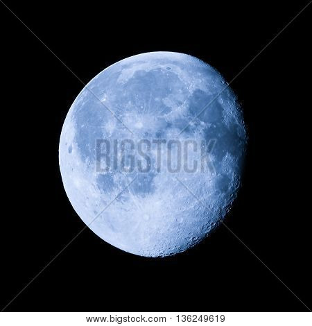 Waning gibbous moon almost full moon seen with an astronomical telescope (photo taken with my own telescope no NASA images used) stock photo