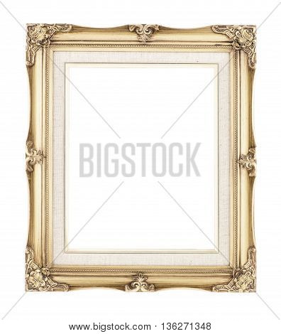Empty Rich Gold Gilded Wood With Inner Canvas Vintage Frame On White Background-Lg Fridge Magnet Skin (size 36x65)