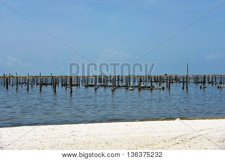 Pier and Boat Docks destroyed by Hurrican Katrina in Biloxi Mississippi stock photo