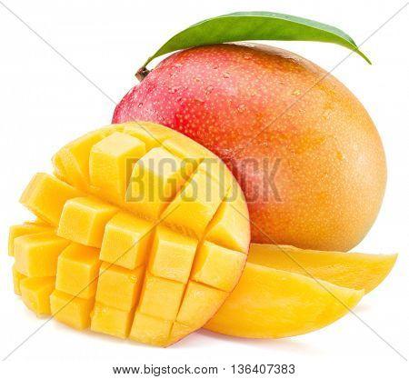 Mango cubes and mango fruit. Isolated on a white background. stock photo