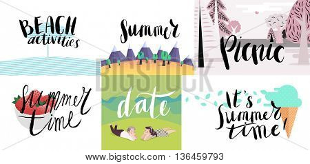 Lettering on beach, picnic, vacation and summer -six vector cartoon illustrated script writings Beac