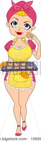 Illustration of a Pinup Girl Tasting the Heart Cookies She Baked stock photo
