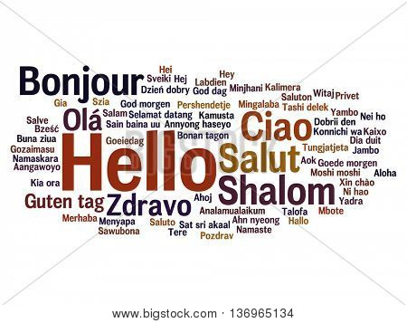 Vector concept or conceptual abstract hello or greeting international word cloud in different languages or multilingual, metaphor to world, foreign, worldwide, travel, translate, vacation or tourism stock photo