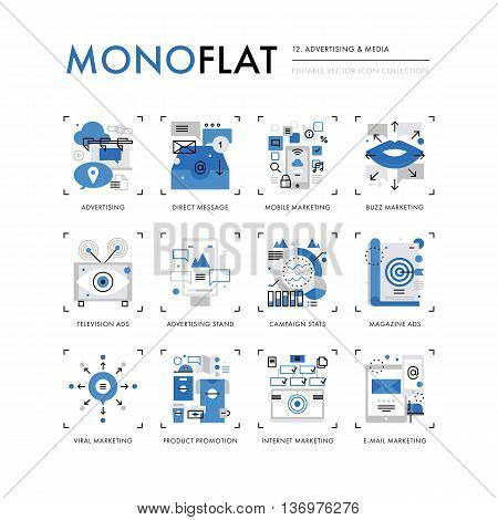 Infographics icons collection of marketing media advertising stand product promotion ads. Modern thin line icons set. Premium quality vector illustration concept. Flat design web graphics elements. stock photo