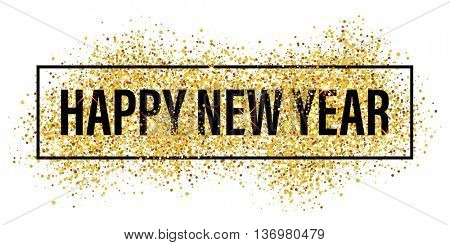 Gold glitter Happy New Year 2017 background. Happy new year glittering texture. Gold sparkles with f