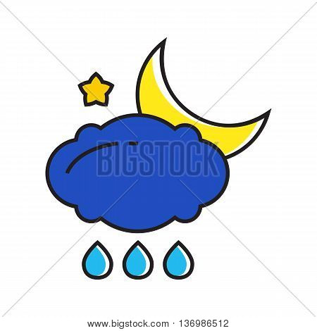 Illustration of rain cloud and crescent moon. Rainy at night, rainy weather, star, weather forecast. Weather concept. Can be used for topics like weather, climate, meteorology, weather forecast