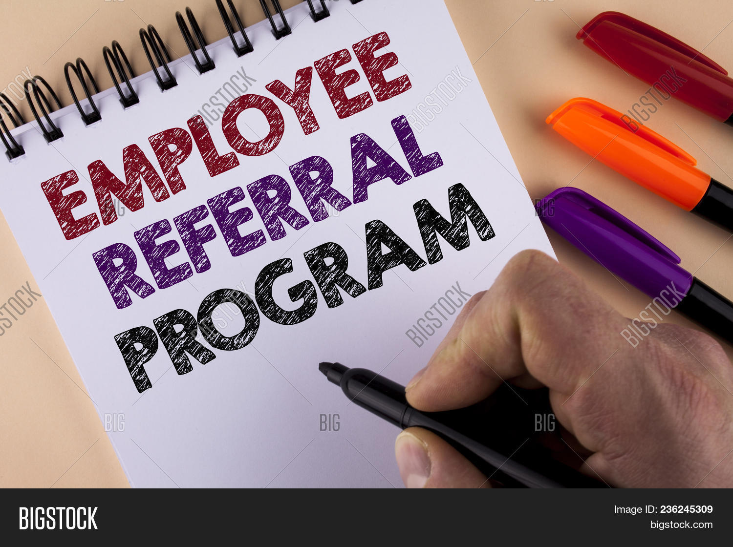 Word writing text Employee Referral Program. Business concept for Recommend right jobseeker share vacant job post written by Man with Marker Notepad the plain background Markers next to it