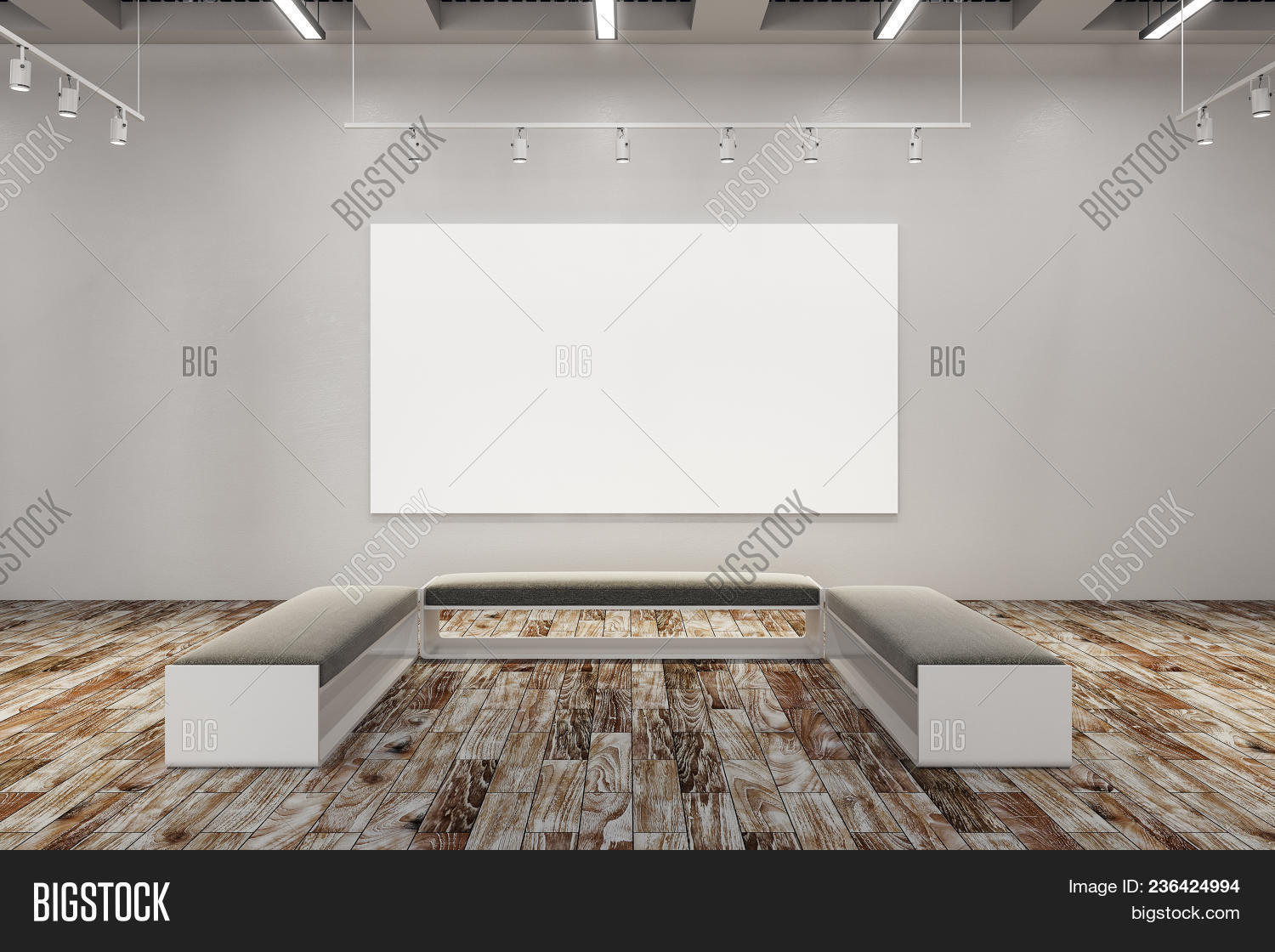 🔥 Clean Exhibition Hall With Empty Billboard And Bench  Gallery