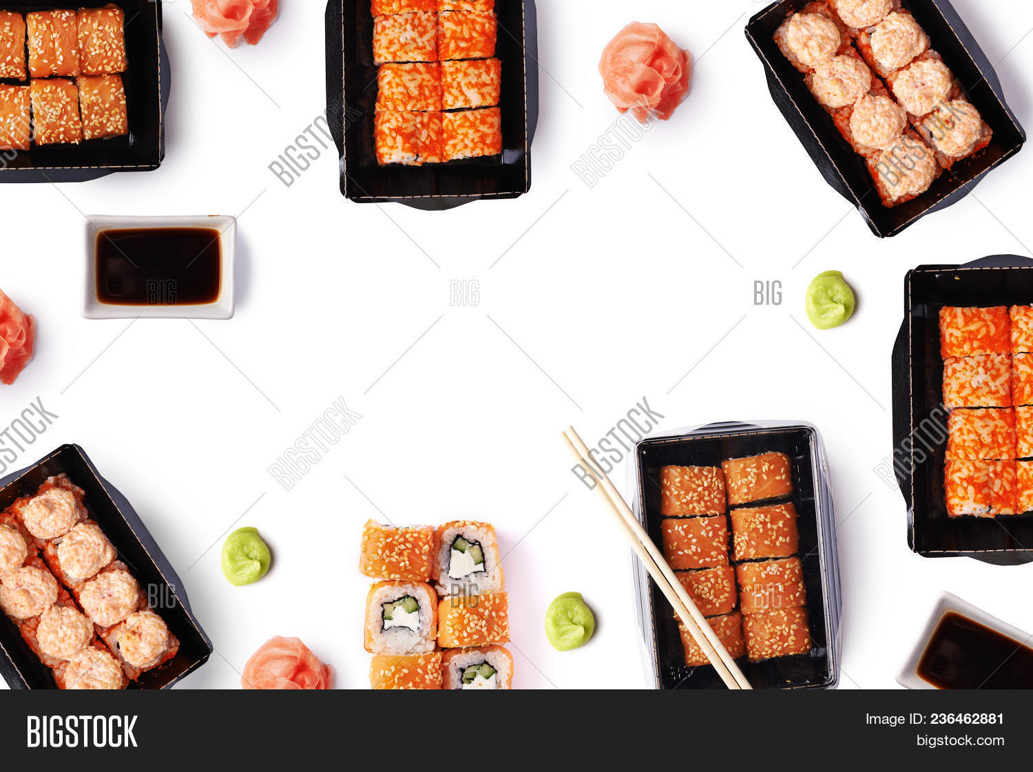 background of delivere maki sushi with copy space isolated on white background