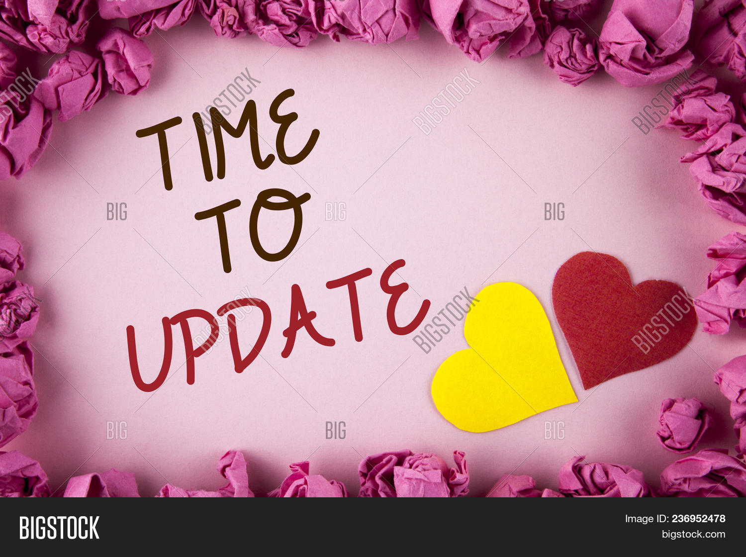 Word writing text Time To Update. Business concept for Renewal Updating Changes needed Renovation Modernization written plain background within Pink Paper Balls Hearts next to it.