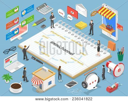 Omnichannel flat isometric vector concept. Business team are discussing their product strategy. stock photo
