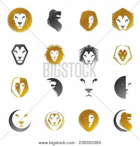 Brave Lion King faces emblems elements set. Heraldic Coat of Arms decorative logo isolated vector illustrations collection. stock photo