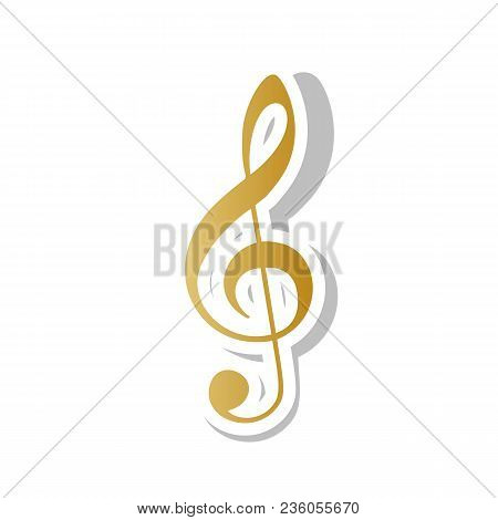 Music violin clef sign. G-clef. Treble clef. Vector. Golden gradient icon with white contour and rotated gray shadow at white background. stock photo