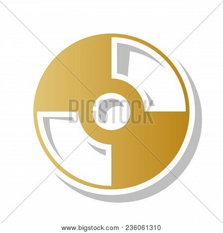 CD or DVD sign. Vector. Golden gradient icon with white contour and rotated gray shadow at white background. stock photo