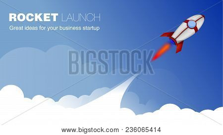 Rocket Ship in a Cartoon Style.Vector illustration with 3d Flying Rocket.Space Rocket Launch.Project Start up and Development Process. Good for Site Header, Poster, UI, Onboarding screens. stock photo