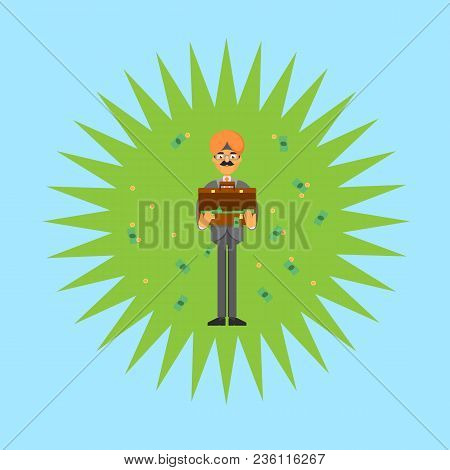 Indian businessman with open suitcase full of money. Standing young man in business suit and turban illustration. Business negotiations banner, finance investment and savings concept. stock photo