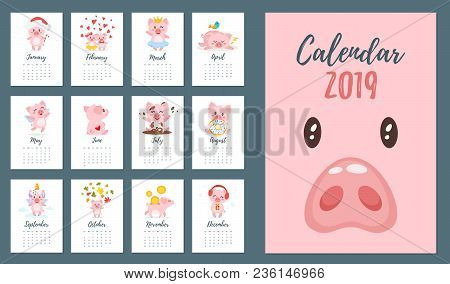 Vector cartoon style illustration of 2019 pig year monthly calendar. Template for print. Piggy different activities and situations on every page. stock photo