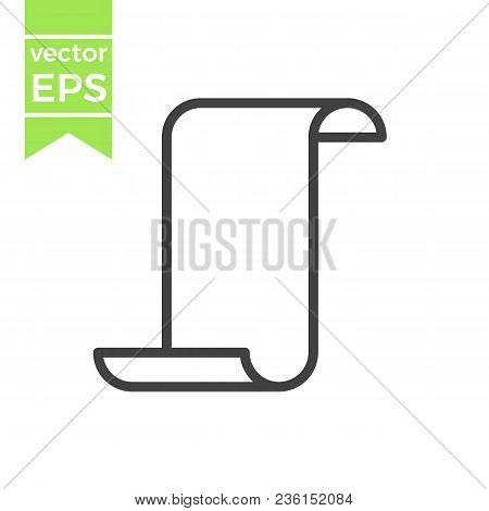 Old unrolled parchment paper certificate line art icon for games and websites.Outline scroll icon isolated on white background stock photo