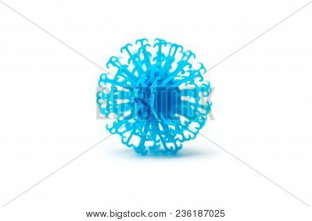 Blue piece of a children's designer Velcro on a white background stock photo