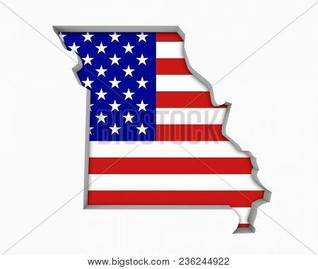 Missouri MO USA Flag Stars Stripes Map 3d Illustration stock photo