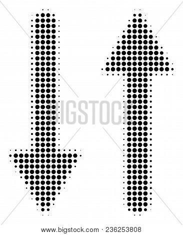 Exchange Arrows halftone vector pictogram. Illustration style is dotted iconic Exchange Arrows icon symbol on a white background. Halftone matrix is circle blots. stock photo