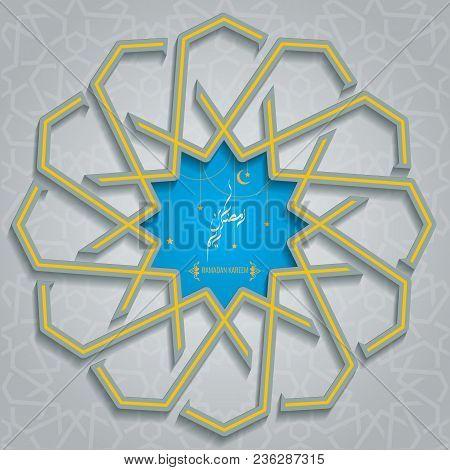 Trendy Ramadan Karem islamic greeting card with Arabic moroccan pattern geometric ornament background. Illustrated vector. stock photo