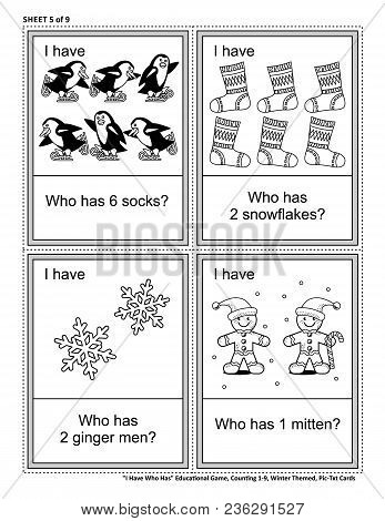 Educational math card game - I Have Who Has - for group of young learners (classroom, kids party). Sheet from set of 9. Learn, reinforce, subitize counting. Winter and holidays themed. stock photo