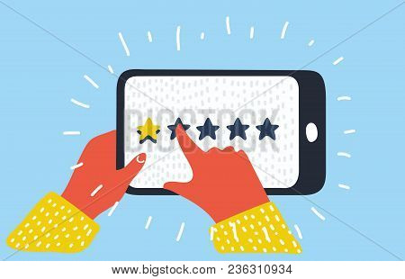 Vector cartoon illustration of Star - user rating on mobile phone.user opinion, review, feedback. Bad rating. Human hands push stars. stock photo
