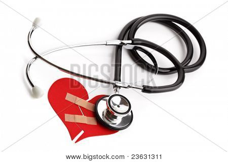 Stethoscope and broken heart concept for heart disease or illness stock photo